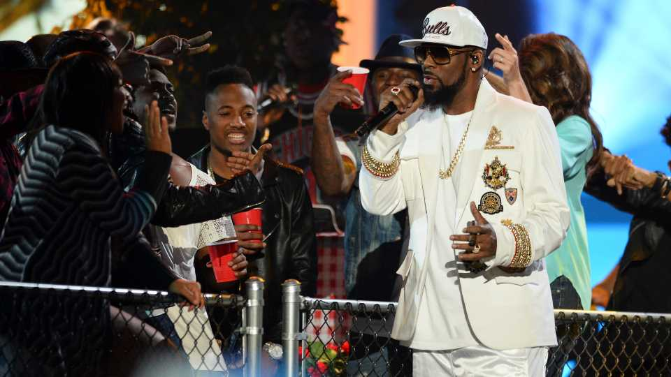 In this Friday, Nov. 6, 2015, file photo, R. Kelly performs at the 2015 Soul Train Awards at the Orleans Arena in Las Vegas. A federal jury in New York convicted the R&B superstar Monday, Sept. 27, 2021, in a sex trafficking trial.