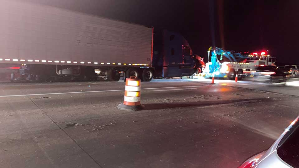Route I-80 down to one lane in Jackson, Twp. due to overnight semi-truck crash