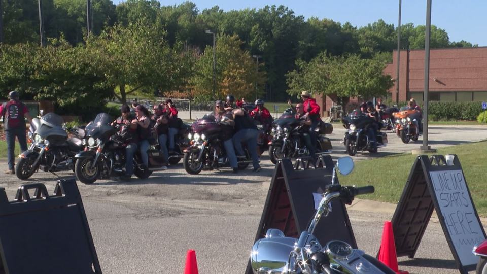 motorcyclists honored Maxton Soviak, a Navy soldier from Berlin Heights, Ohio, who died in the Kabul airport attack.