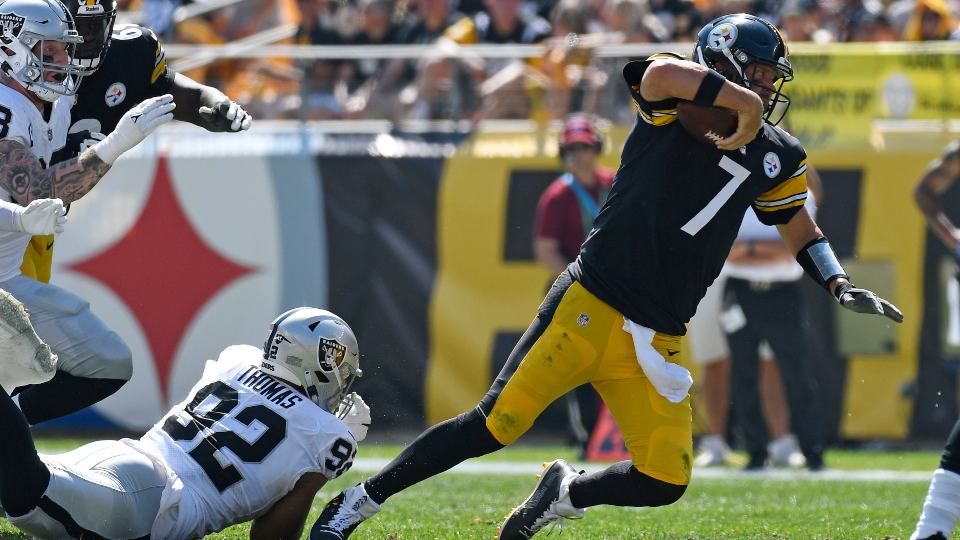 Pittsburgh Steelers quarterback Ben Roethlisberger (7) is sacked by Las Vegas Raiders defensive end Solomon Thomas (92) during the first half of an NFL football game in Pittsburgh, Sunday, Sept. 19, 2021. (AP Photo/Don Wright)