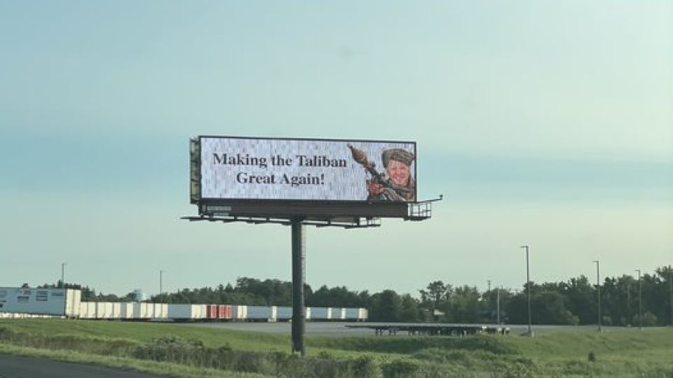 """If you've driven along Interstate 83 in York County lately, chances are you've seen a giant billboard that features President Joe Biden in a military outfit along with the phrase """"Making the Taliban Great Again."""""""