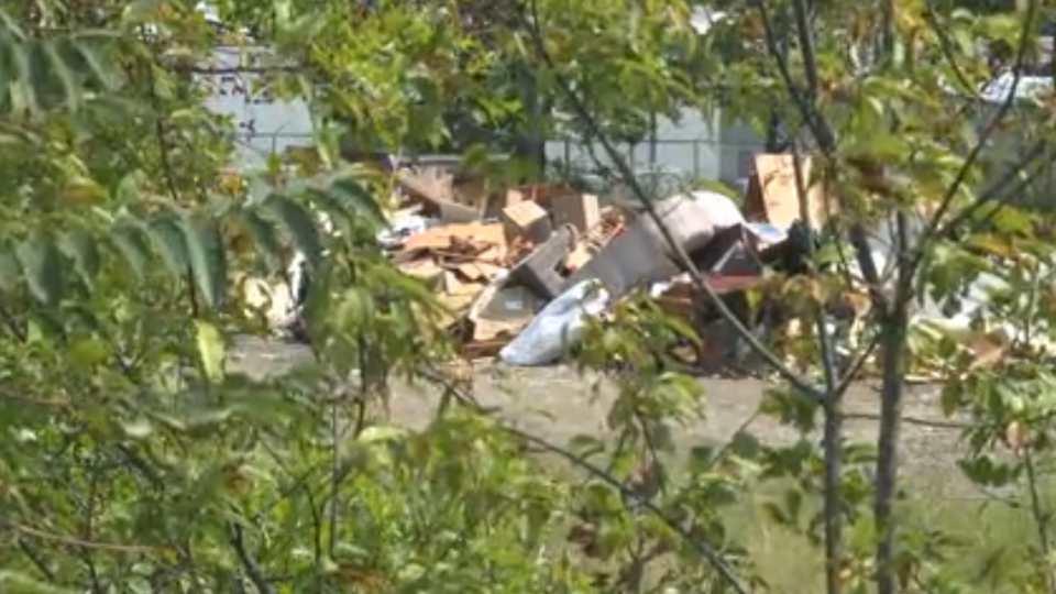 Warren SERVPRO dumping debris pile