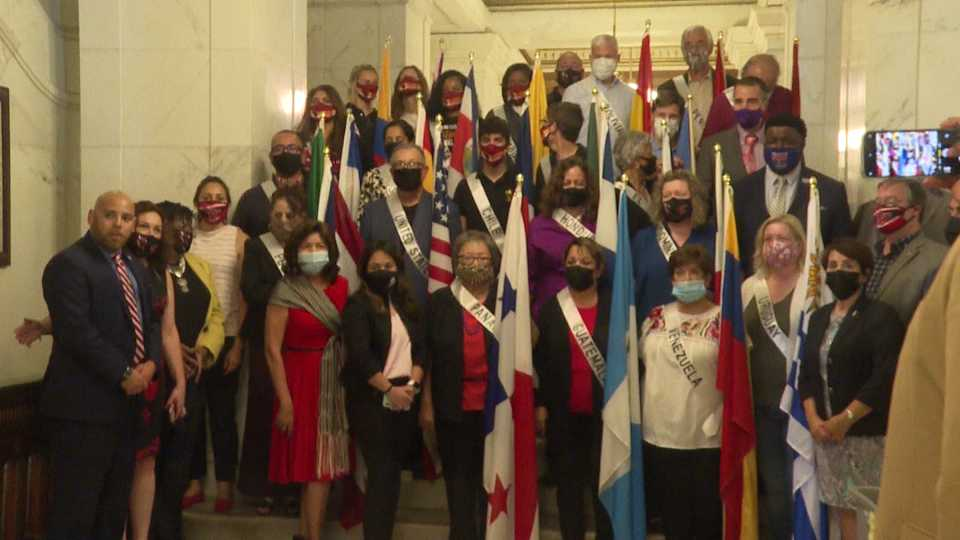People gathered at the Mahoning County Court House Thursday morning for Hispanic Heritage Month.