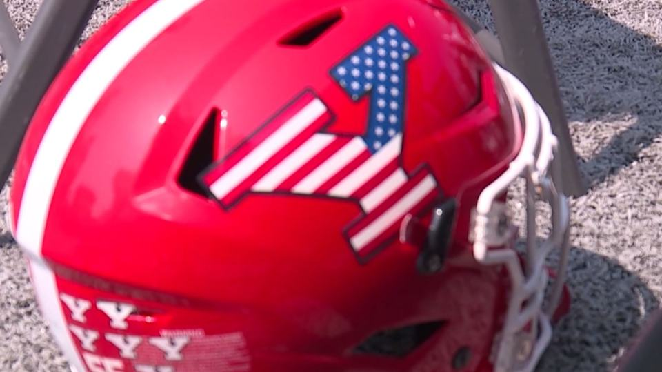 Youngstown State University's football team wore special helmets for the 20th anniversary of 9/11.