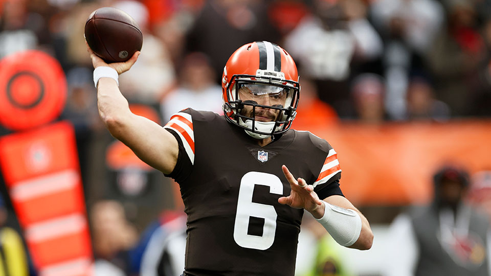 Cleveland Browns quarterback Baker Mayfield throws during the first half of an NFL football game against the Arizona Cardinals, Sunday, Oct. 17, 2021