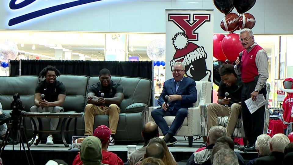 Former YSU and Philadelphia Eagles teammates Ron Jaworski and Paul McFadden, YSU president and former head coach Jim Tressel, current YSU head coach Doug Phillips and two members of the roster held a panel discussion at Boscov's at the Eastwood Mall.