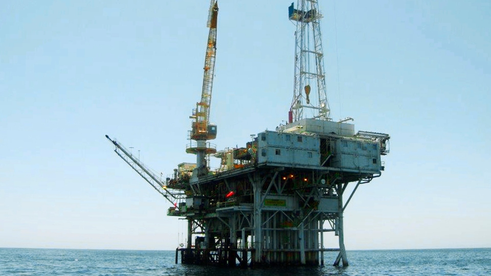 FILE - This undated file photo provided by the California State Lands Commission shows Platform Holly, an oil drilling rig in the Santa Barbara Channel offshore of the city of Goleta, Calif. The Platform Holly is one of four offshore oil platforms in California's coastal waters. The state is in the process of plugging and abandoning the platform's wells and eventually plans to decommission the platform, a process expected to cost taxpayers tens of millions of dollars.