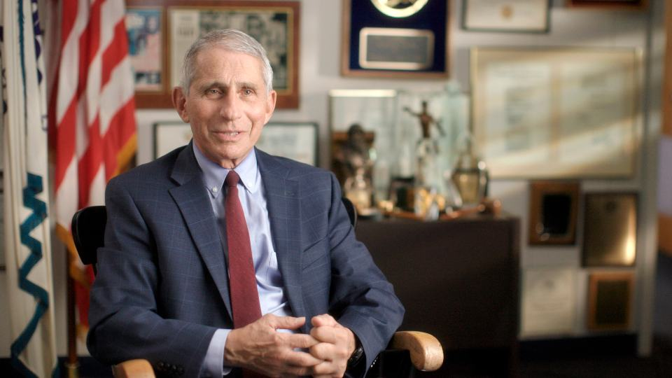 """This image released by National Geographic shows Dr. Anthony Fauci at the NIH in Bethesda, Md., during the filming of the documentary """"Fauci."""" (Visko HatfNational Geographic via AP)"""