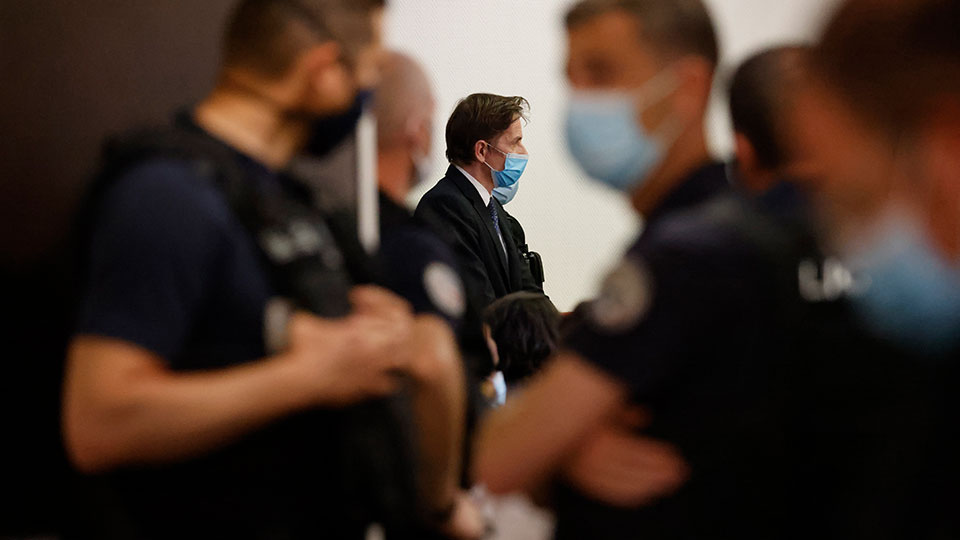 Rémy Daillet-Wiedemann, a former French politician whose popularity grew when he spread QAnon-style conspiracy theories, appears in court in Nancy, France on Wednesday, June 16, 2021