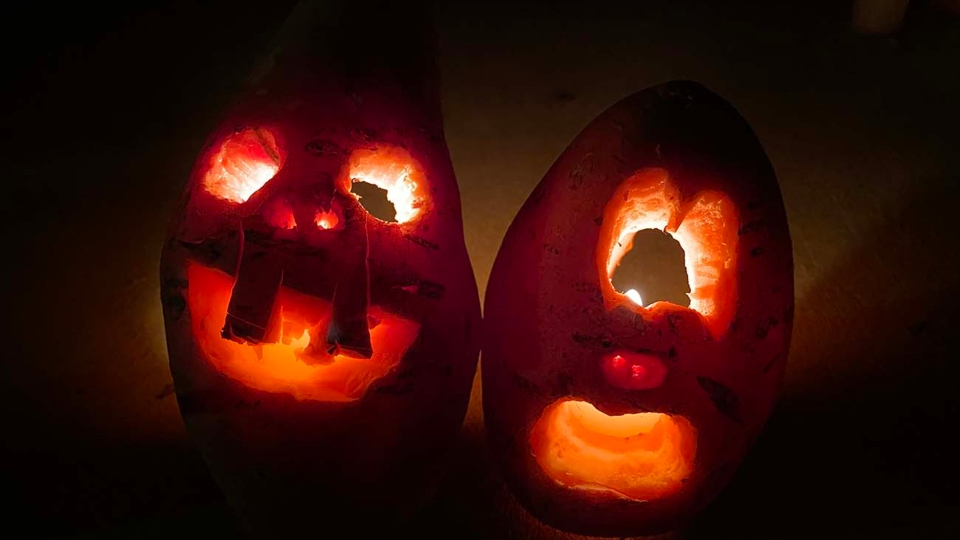 Early jack-o-lanterns were carved from root vegetables.