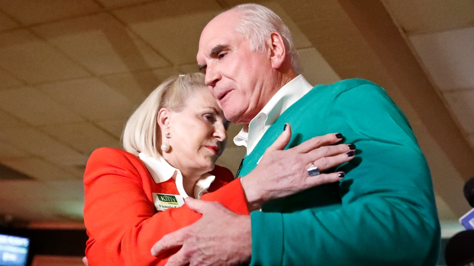 U.S. Rep. Mike Kelly, right, embraces his wife, Victoria Kelly after giving his victory speech to supporters at his returns party Tuesday, Nov. 6, 2018, in Butler, Pa. Kelly faced democratic challenger Ron DiNicola in the newly redrawn 16th district in Pennsylvania.