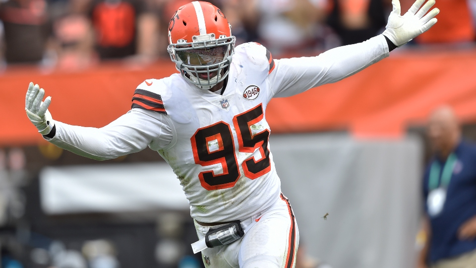 Cleveland Browns defensive end Myles Garrett celebrates after sacking Chicago Bears quarterback Justin Fields during the second half of an NFL football game, Sunday, Sept. 26, 2021, in Cleveland. The Browns won 26-6.