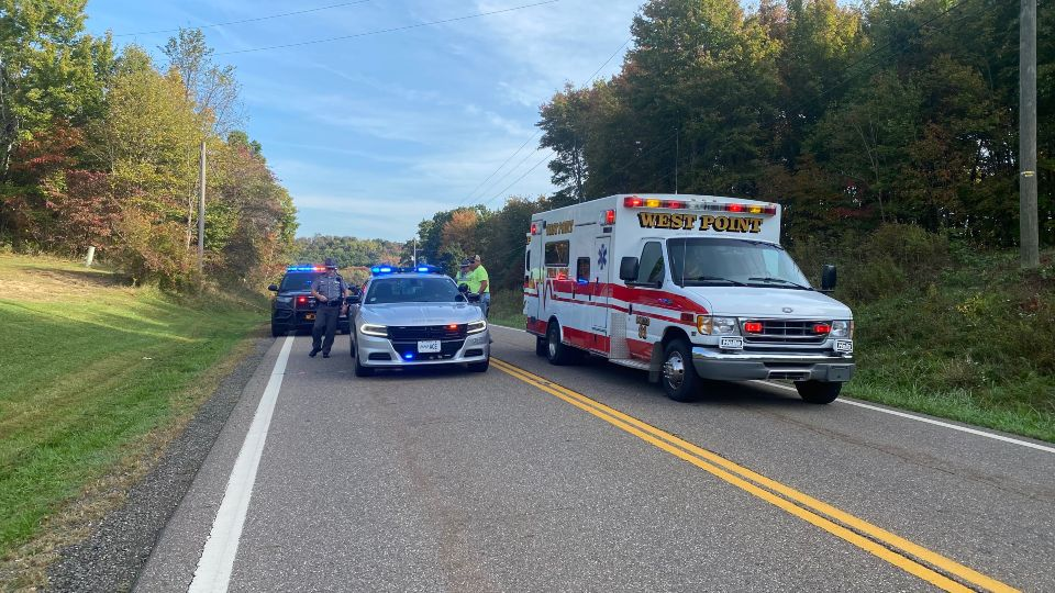 A person was flown by a medical helicopter after being hit by a vehicle in Columbiana County.