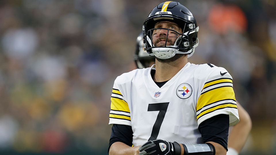 Pittsburgh Steelers' Ben Roethlisberger reacts as he walks off the field during the second half of an NFL football game against the Green Bay Packers Sunday, Oct. 3, 2021, in Green Bay, Wis