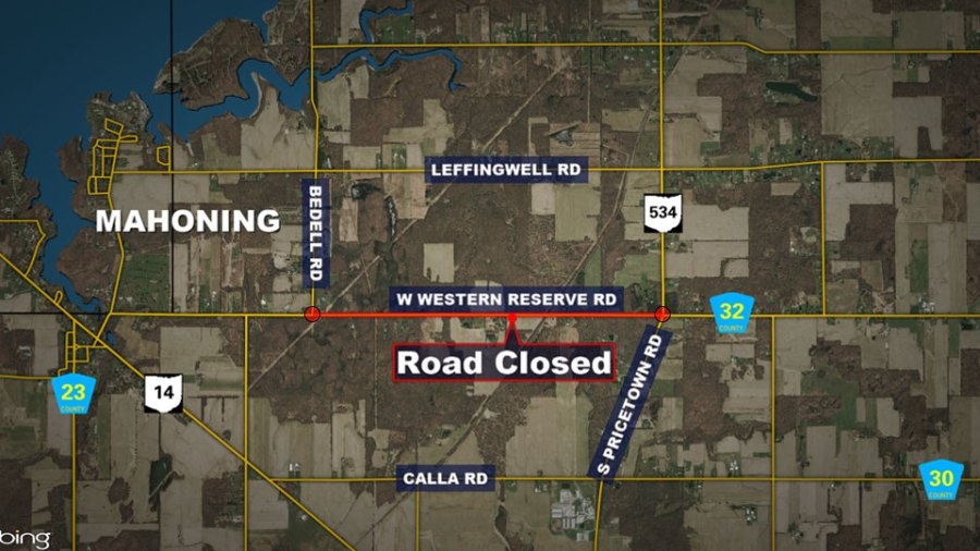 Western Reserve Road between State Route 534 and Bedell Road will be closed from Oct. 18-22.
